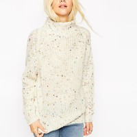 ASOS Jumper with Grown On Neck in Nep Yarn