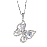 Dear Deer White Gold Plated Elegant Flying Butterfly CZ Pendant Necklace