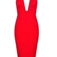 Red V-Neck Spaghetti Strap Bodycon Dress