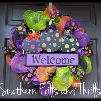 Halloween Wreath, Deco Mesh Wreath, Halloween Deco Mesh Wreath, Wreath, Halloween Decor, Halloween Door Hanger, Pumpkin Wreath