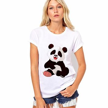 CDJLFH 2017 Selling Fashion Round Collar T Shirt  Print Finger Adorable Panda Cute T-Shirt Women Summer Clothes Casual