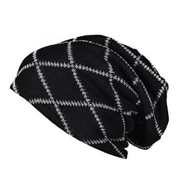 Smosee Slouchy Beanie Long Knit Cap Oversized Winter Unisex Hat (Black)