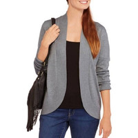 Faded Glory Women's Cinched Cardigan Sweater, Med Grey Heather, Large