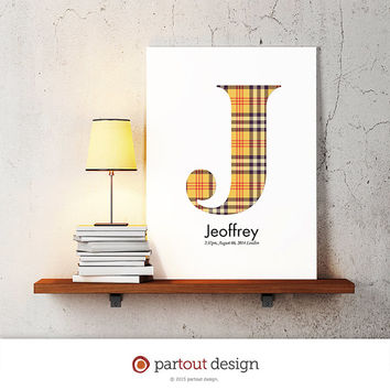 letter J baby nursery art monogram logo personalized gift baby name initial art print DIY printable letter nursery decor initial name art
