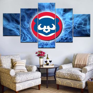 5 panel HD Modular Painting Canvas Wall Art Pictures chicago cubs sports boys paintings on canvas wall art for home decor frame