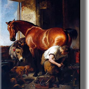 Blacksmith Shoeing Horse, Horseshoer Picture on Acrylic , Wall Art Décor, Ready to Hang!