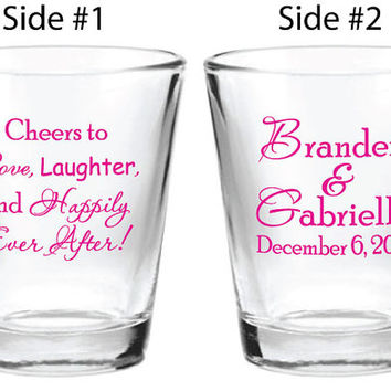 168 Custom Wedding Favors Personalized 1.5oz Glass Shot Glasses Cheers to Love Laughter and Happily Ever After! 2015 2016 2017 Weddings