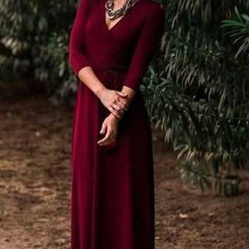 The Jonna Wrap Maxi Dress - Burgundy