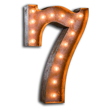 Vintage Marquee Lights Number 7, Signs