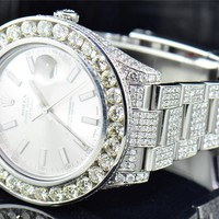 Mens New Rolex Date Just II 2 Iced Out Flooded With Genuine Diamonds 46 MM