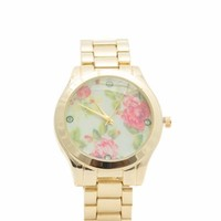 Floral Background Boyfriend Watch - GoJane.com