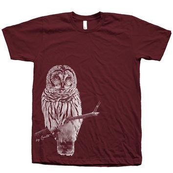 Men OWL T shirt Unisex Hand Screen Print American Apparel Crew Neck Available: S, M, L, XL, XXL 26 Color Option
