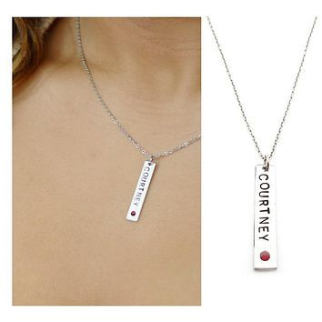 Name Birthstone Bar Necklace - Silver Bar Necklace - Sterling Si fff4c4d07