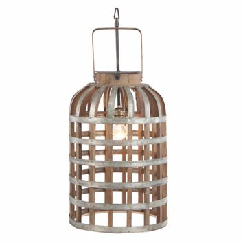 Alluring Caged Metal and Wood Hanging Lantern, Brown and Silver