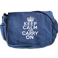 Keep Calm Carry On Messenger Bag Large Blue White Vintage Canvas Bag