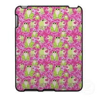 Pink Green Love Frogs Case For The iPad from Zazzle.com