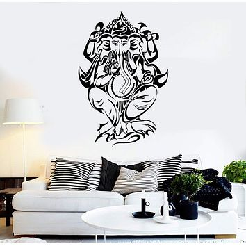 Vinyl Wall Decal Ganesha Hindu Room Decoration Elephant God Stickers Unique Gift (477ig)