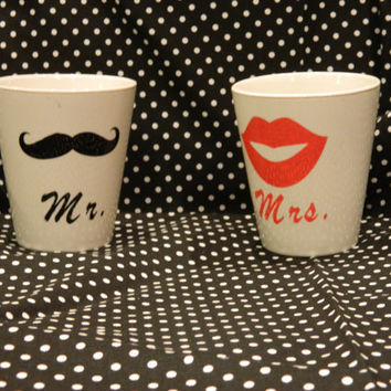 Mr. and Mrs. Mustach and Lip Mugs, coffee or tea cups