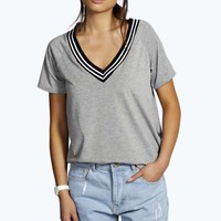 Jen Low V Neck Trim Tee
