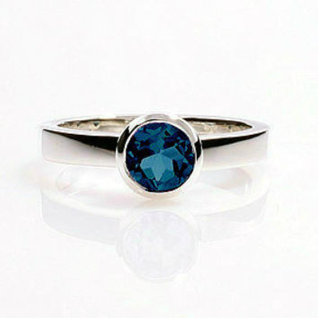 London Blue topaz ring, white gold, Engagement ring, Topaz, unique, simple engagement, traditional, blue topaz ring