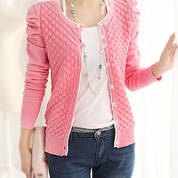 Long Puff Sleeve Button Design Knitted Cardigan