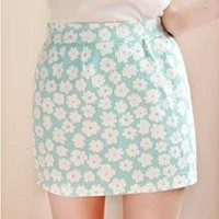 Cute Sweet Blue Floral Print Mini Skirt from styleonline