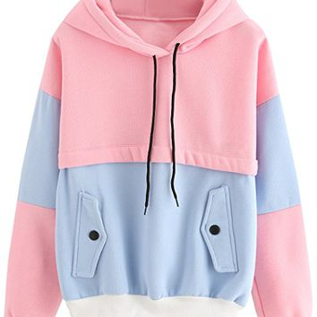 Sweatshirt Women Colorblock Pullover Fleece Hoodie