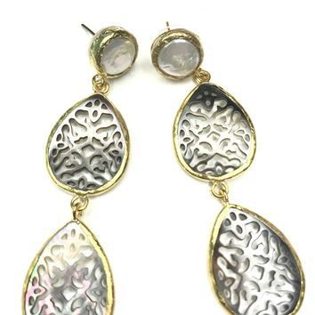 Mother of Pearl Triple Drop Earrings