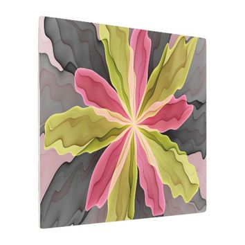 Joy, Pink Green Anthracite Fantasy Flower Fractal Metal Photo Print