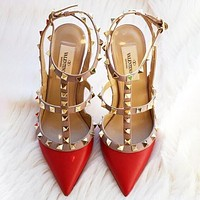 Valentino Women Classic Rivet Pointed Sandals Shoes High Heels Red