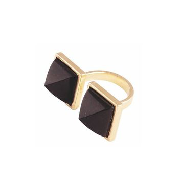 Gold Plated Double Pyramid Ring