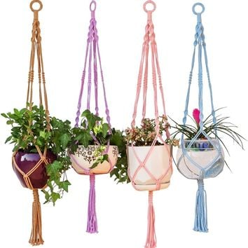 Colorful Macrame Plant Hanger Hanging Planter Holder Basket for Garden Flower Pot Indoor Outdoor Decoration 40 Inch(1M)
