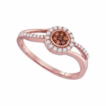 10k Rose Gold Women's Round Brown Diamond Flower Cluster Ring - FREE Shipping (US/CA)