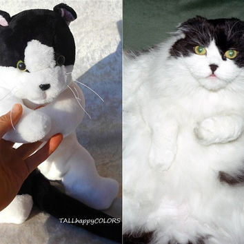 Black and White Cat plush, memory Cat breeds from photo, soft toy panther handmade, stuffed animal cat individual markings, MADE to ORDER