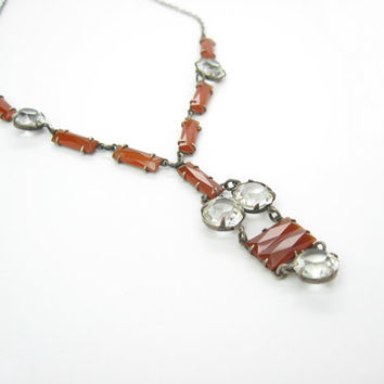 Carnelian Necklace. Vintage 1920s Art Deco Jewelry. Sterling Silver. Rock Crystal Lavalier Necklace. Antique Jewelry.