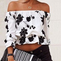 Boho Floral Off-shoulder Top