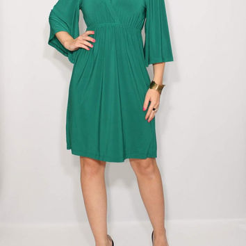 Day Dress Emerald green dress Kimono Dress Short dress
