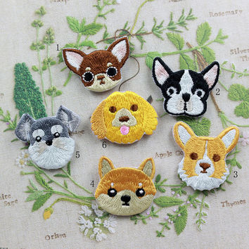 Cute Dog Patch Embroidered Animation Cartoon Dog Patch Sew on Iron on Patches
