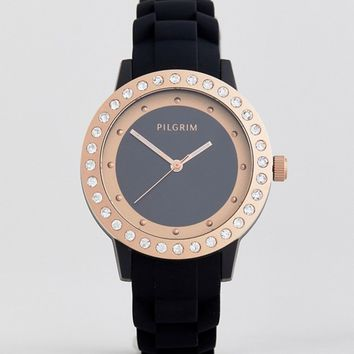 Pilgrim Rose Gold Plated Watch With Black Silicone Strap at asos.com