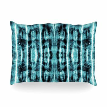 "Nina May ""Teal Vertical Shibori"" Teal White Abstract Stripes Mixed Media Watercolor Oblong Pillow"