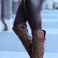 Lets Talk Pleather Leggings (Chocolate)