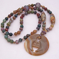 Carved Stones, Long Necklace, Gemstone Necklace, Green, Grey, Brown Necklace, Handmade Jewelry
