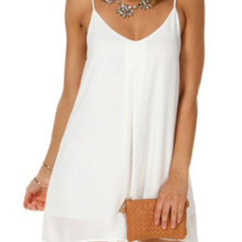 White Spaghetti Strap V Wire Shift Dress Sundresses