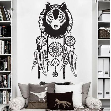 E682 Fatima Mandala Buddha Yoga Studio Wolf Dream Catcher Vinyl Wall Stickers DIY poster Art Decal mural for Room Home decor