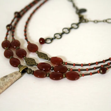Soft Pastel Tan and Burnt Orange Carnelian Three Strand Boho Style Gemstone and Pearl Pendant Necklace