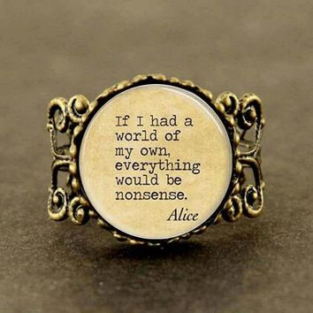 womens 2016 Alice In Wonderland Nonsense Fairy Tales Book Quote chain ring jewelry vintage
