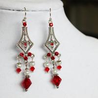 Red, White and Silver Crystal Chandelier Earrings - Silver Plated Swarovski Crystal Chandelier Components with Red Crystals and White Pearls