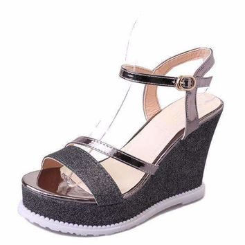Shinny Glittering Open Toe Women Wedge Sandals