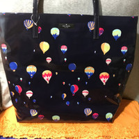 Kate Spade Daycation Navy Hot Air Multi Ballon Coated Poplin Open Top Shopper