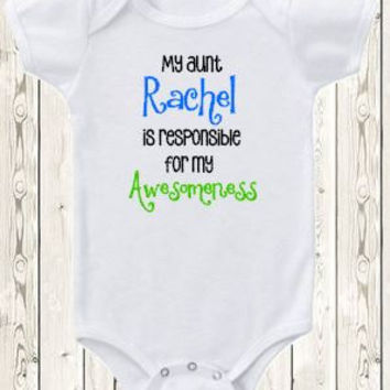 Personalized My Aunt Is Responsible For My Awesomeness Onesuit ® Brand Bodysuit Or Shirt Niece Or Nephew Aunt Baby World's Best Aunt Bodysuit
